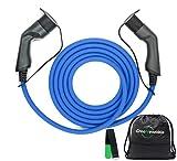 Typ 2 Ladekabel Elektroauto Typ 2 22kW 5m 32a 4,5kg Schnelladekabel | mit Tasche & Klettband | TÜV & CE geprüft |3 Phasig | ladekabel typ 2 22kW Elektro Auto lade kabel typ2 22 kw type 2 typ 2 zu typ2