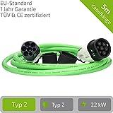 E-Autos.de EV Ladekabel für Elektrofahrzeuge   Stecker: Typ 2 zu Typ 2 (Mennekes)   32A   3-phasig   Kabellänge: 5m   Zertifiziert mit CE und TÜV Zulassung (Grün)