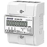 ORNO OR-WE-520 Stromzähler Hutschiene 3-Phasen-Anzeige des Stromverbrauchs mit MID Zertifikat, 0,25A - 80A,3 x 230V/400V, 50/60Hz, 800 imp/kWh
