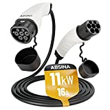 ABSINA Typ 2 Ladekabel Elektroauto - 11kW | 16A | 5 Meter | Typ 2 Kabel zum Laden für Hybrid & E Auto an Ladesäule IEC62196-2 - Typ2 Elektrofahrzeug Ladekabel 3 phasig mit IP55