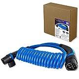 TEUTSCHTECH EV Ladekabel Spiral für Elektrofahrzeuge, I Stecker TYP2 - TYP2 I 22kW I 3x32A I 3-phasig I 6m I Versilberte Kontakte I Hergestellt aus den besten verfügbaren Materialien