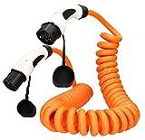 E-Autos.de EV Ladekabel für Elektrofahrzeuge   Stecker: Typ 2 zu Typ 2 (Mennekes)   32A   3-phasig   Kabellänge: 8m Spirale   Zertifiziert mit CE und TÜV Zulassung (Orange)