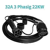 K.H.O.N.S. EV Typ 2 Ladekabel 3 Phasig 22KW 32A EV Kabel Typ 2 zu Typ 2 für Elektrofahrzeuge Typ 2 Elektroauto EV Ladekabel 5M(Typ 2 Typ 2 32A 22KW)