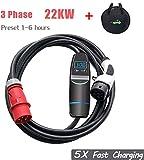 K.H.O.N.S. Typ 2 tragbares 22kW EV ladegerät 11kw 3 Phasig EV ladestation für Elektroauto Ladekabel typ 2 32A auf CEE EVSE IEC 62196-2, TUV, CE