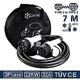 EV Ladekabel Typ 2 22KW 7m 32A 3 phasig für Elektroauto und PHEV kompatibel mit ZOE Model 3/S/X/Y e-tron iX3 Taycan u.a, IP54 weiß/schwarz
