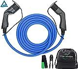 Typ 2 Ladekabel Elektroauto Typ 2 22kW 5m 32a Schnelladekabel | mit Tasche, Klettband & Wandhalterung | TÜV |3 Phasig | ladekabel typ 2 22kW Elektro Auto ladekabel typ2 22 kw type 2 typ 2 zu typ2