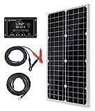 30W 12V Monokristallines Solarmodul Solarpanel Solarzelle Kit mit 10A Solarladegerät Laderegler Photovoltaikanlagen Solarbetriebene für Caravan Camper Boot
