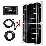 10W 12V Monokristallines Solarmodul Solarpanel Solarzelle Kit mit 10A Solarladegerät Laderegler Photovoltaikanlagen Solarbetriebene für Caravan Camper Boot
