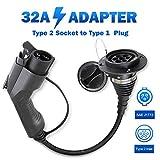 Morec EV Adapter Ladekabel für Elektrofahrzeuge Verwandelt Ihr Ladegerät Ladestation Typ 2 in Typ 1 32A Einphasig, IEC 62196-2 zu SAE J1772 …