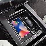 TeslaOwner Model S / Model X Mittelkonsolenbox mit kabellosem Ladegerät für Qi-Telefone, Schlüssel, Karte, Münzen, Sonnenbrillen