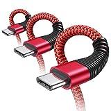 USB C Kabel [3 Stück 0.5M+1.2M+2M ] Typ C Kabel Schnelles Laden Galaxy Ladekabel für Samsung S10 S9 S8 Plus Note 10 9 8 A3 A5 2017 LG G5 G6 HTC 10 U11, Huawei P10 P9 (Rot)