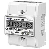 ORNO OR-WE-513 Stromzähler Hutschiene 3-Phasen-Anzeige des Stromverbrauchs mit MID Zertifikat, 0,25A – 80A, 3 x 230V/400V, 50/60Hz, 1000 imp/kWh