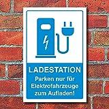 WERBEPUNKT. Schild Parkplatz Ladestation E-Auto Elektroauto Fahrzeuge 3 mm Alu-Verbund - 450 x 300 mm