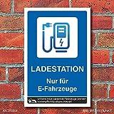 WERBEPUNKT. Schild Ladestation Elektrotankstelle E-Auto Elektroauto 3 mm Alu-Verbund - 300 x 200 mm