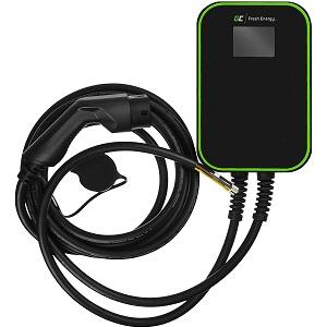Green Cell® GC EV PowerBox Ladegerät Wallbox für EV PHEV | Laden mit 22kW/11kW/7,2kW | Kabel Typ 2 6m | LCD Bildschrim | IP66 | Kompatibel mit Toyota Model 3 / S, ID.3, e-Golf, i3, ZOE, Leaf, Kona